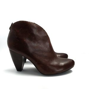 Born Crown Distressed Brown Ankle Booties, Size 10